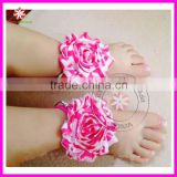 Baby chiffon Barefoot Flower Sock Sandals Shoes Toe Blooms prewalker