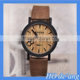 HOGIFT Top Selling Simulation Wooden Watch/Relojes Quartz Men Watch/Casual Wooden Color Leather Strap Watch