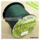 Zhejiang Outdoor Fishing Equipment Japan Steel PE Braided Fishing Line 4 Strands SUNBANG 20lb 1500m Dark Green
