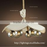 wholesale decorative rope pendant lamp, natural linen glass industrial vintage chandelier