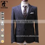 2016 High class slim fit black white stripes men formal business suit