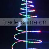 outdoor 1.5m colourfull rope light metal frame spiral christmas tree