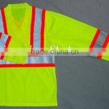 yellow safety vest with pockets Long Sleeves Mesh Fabric V-neck Reflective Shirt