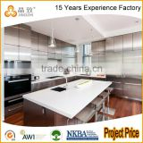 Top Quality Custom Made High Gloss Lacquer Vinyl Wrapped Laminate Wood Kitchen Cabinet