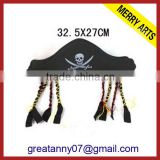 2015 new product Bee Animal Shape Carnival Party Black Halloween Hats with Human SKeleton Logo