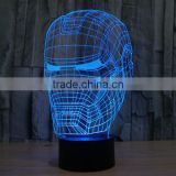 IRON MAN shape skull 3d illusion lamps acrylic Indoor USB + battery operated decorative led night light