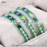 JMTB094 2015 Fashion Delicate single strand Japanese Miyuki Delica Seed Bead Natural Stone Bracelet                                                                         Quality Choice