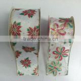 HOT SALE! Gold Wired Edge Fabric Decorative Ribbon for X'mas Present Packaging Decorations