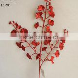 High quality artificial glitter floral ginkgo leaf branch for christmas decorations