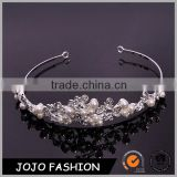 Luxury wedding headpiece silver white cystal indian wedding headdress Pearls bridal hair accessories                                                                                                         Supplier's Choice