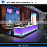 High Glowing Translucent Led Lighting Beauty Salon Curved Reception Desk