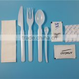 wholesale disposable plastic cutlery set with napkin