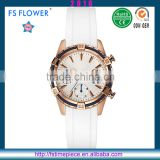 FS FLOWER - Rubber Band Rose Gold Plated Case Steel Wire Bezel Chronograph Watch Wrist Watches Men