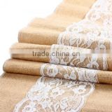 "11.5 108"" Natural Brown Burlap Lace Hessian Table Runner Party Decoration"