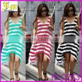 2015 New Spring Summer Sexy Slim Doll Mini Pencil Dress Striped Bottoming Dress