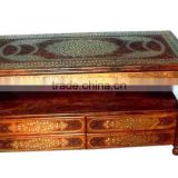 Wood carving decorative brassinlay center table