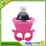 Wearable Soft Ring Silicone Nail Polish Holder,Silicone Rubber Nail Polish Bottle Holder