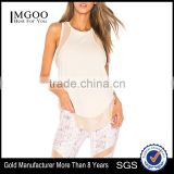 MGOO High Quality Sport Wear Dri Fit Tank Top Women Singlet Mesh Perspective Tank Top With Curved Hem