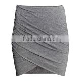 MGOO Popular Latest Fashion Design Women Grey Cotton Slinky Skirts With Magic Wrap Up Knitted Skirts 15144C072