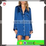 2017 fahsion style Women's Summer Sexy Silk Satin ladies long sleeve night shirts Pajamas nightgown wholesale