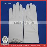 G0426Y2 Elegant Wrist Length white satin beaded children flower girl wedding communion glove