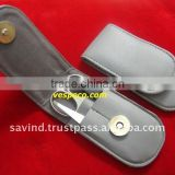 Small Size Grey Synthetic Leather 3pcs Pak Stainless Steel Manicure Kit