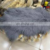 Grey mongolian lamb fur backrest pillow backrest cushion for sofa