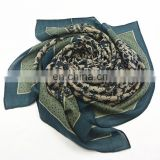 Printed 110*110cm natural wool square scarf/shawl/pashmina with Arab style positional pattern