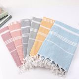 Striped Cotton Turkish Sports Bath Towel with Tassels