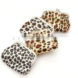 beautiful Leopard grain pattern kiss lock clasp clip wallet