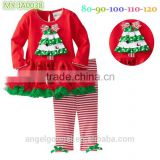 2015 girls christmas tree baby clothing set wace ruffle spanish baby christmas clothes for kids wear winter outfits MY-IA0038