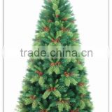 BSCI ! 6FT/180CM Green PE Tips Premium Artificial Christmas Fir Tree/Red Berry decoratived christmas pvc tree