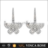 Butterfly micro setting CZ sterling silver earrings designs