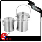custom small stainless steel ice bucket and Tongs- double wall beer ice bucket with opener wholesale