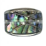 Girls Turquoise Genuine Paua Shell Design Ring with Silver Adjustable Band Gorgeous abalone shell designer art deco