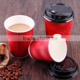 Manufacturer of spot disposable paper cup double thickening office green corrugated heat insulation coffee milk tea cup
