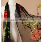 fashion lady rose black digital printed polyester georgette scarf shawl ,imitated silk georgette scarves and shawls,summer hijab                                                                                                         Supplier's Choice
