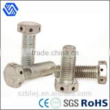 Carbon steel white zinc plated full thread hex bolt with six holes