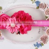 fancy flower elastic girls hair band hair accessories with beads