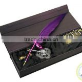 Purple Feather Pen Set with Dip Pen and Refill Bottle Ink