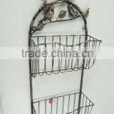 Antique white wire basket retaining wall shelf