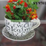 Pot for plant cup shape porcelain garden flower pot