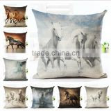 Woven Linen Horses Style Cushion Cover Sofa Car Office Home Decorative Pillows Case Horse Pattern Printing