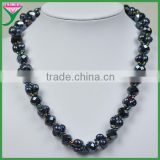 Fashionable dyed black long baroque freshwater pearl necklace with crystal