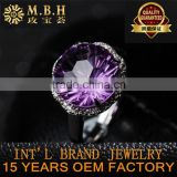 factory wholesale 18K gold plating 925 sterling silver jewelry amethyst and citrine natural gemstone rings