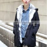 women/lady's Fashion Brand Women Winter Down coat with rabbit Fur Collar in China, women long down jackets