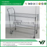 2015 hot sell NSF 36x18 inch 3 layer chrome single hand push trolley with wheels (YB-WS048)
