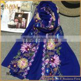 2016spring factory wholesale floral embroidered 70% polyester with30%viscose scarf woman,cotton linen scarf shawl