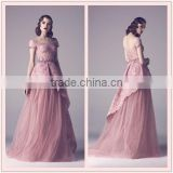 ( MY0911) MARRY YOU 2015 New Collection Romantic Angel Scoop Neckline Short Sleeves Lace Bodice Blush Alibaba Wedding Dress
