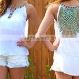 New Summer Style Hollow Out Sleeveless Sexy Backless Women All-Match Casual lace Top Tshirt